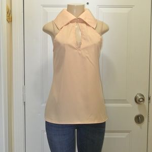 Peach Large Collar Open Back Top